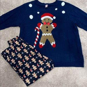 Christmas Outfit! Gingerbread sweater and leggings